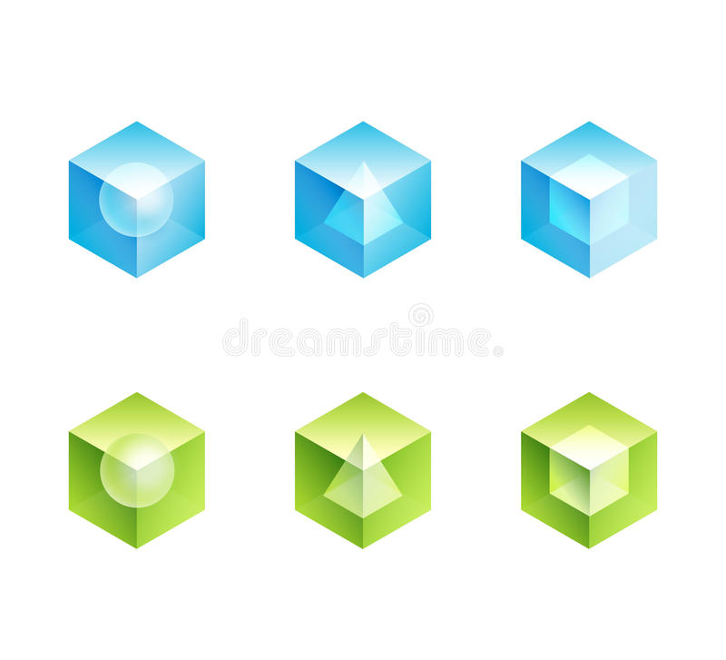 Grupo abstrato do logotipo do negócio. formas dos ícones do cubo ilustração do vetor