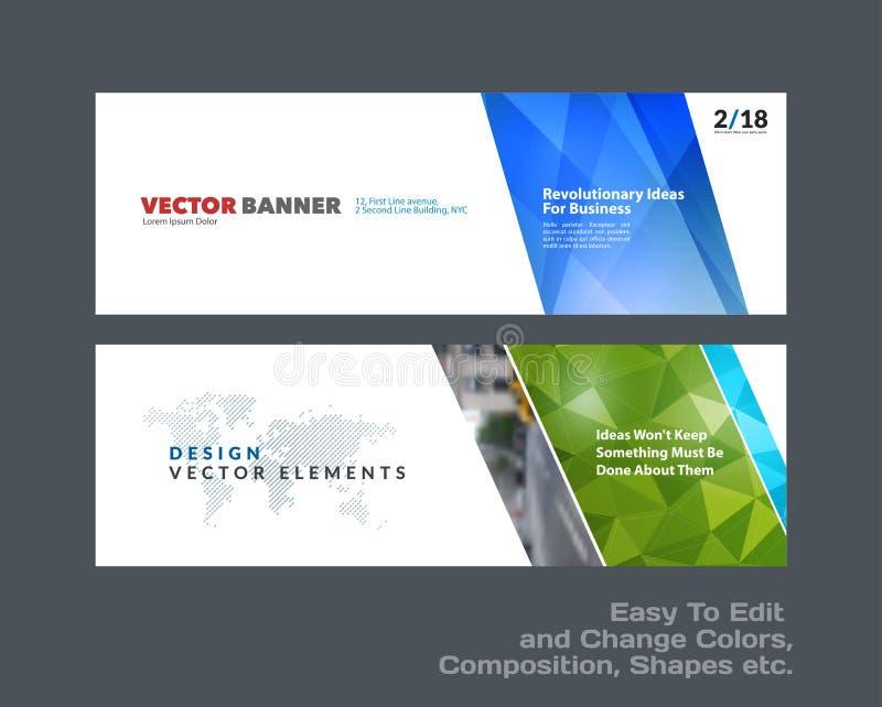 Grupo abstrato do vetor de bandeiras horizontais modernas do Web site com formas triangulares diagonais coloridas ilustração royalty free
