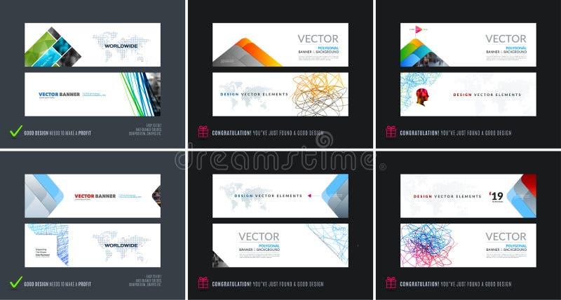Grupo abstrato do vetor de bandeiras horizontais modernas do Web site ilustração do vetor