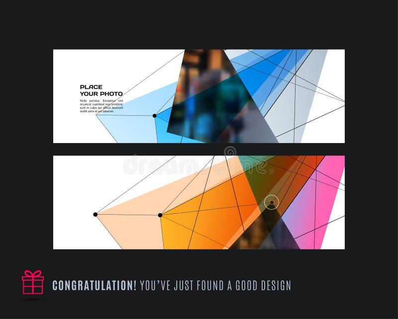 Grupo abstrato do vetor de bandeiras horizontais modernas do Web site com triângulo colorido ilustração royalty free