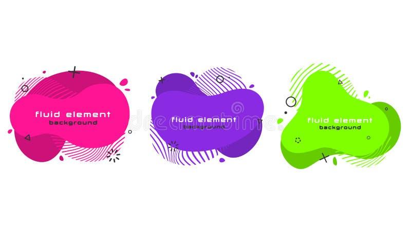 Grupo abstrato na moda futurista da bandeira Elementos fluidos geom?tricos lisos ilustração royalty free