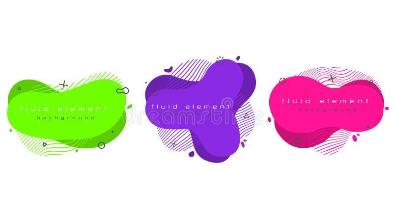 Grupo abstrato na moda futurista da bandeira Elementos fluidos geom?tricos lisos ilustração do vetor