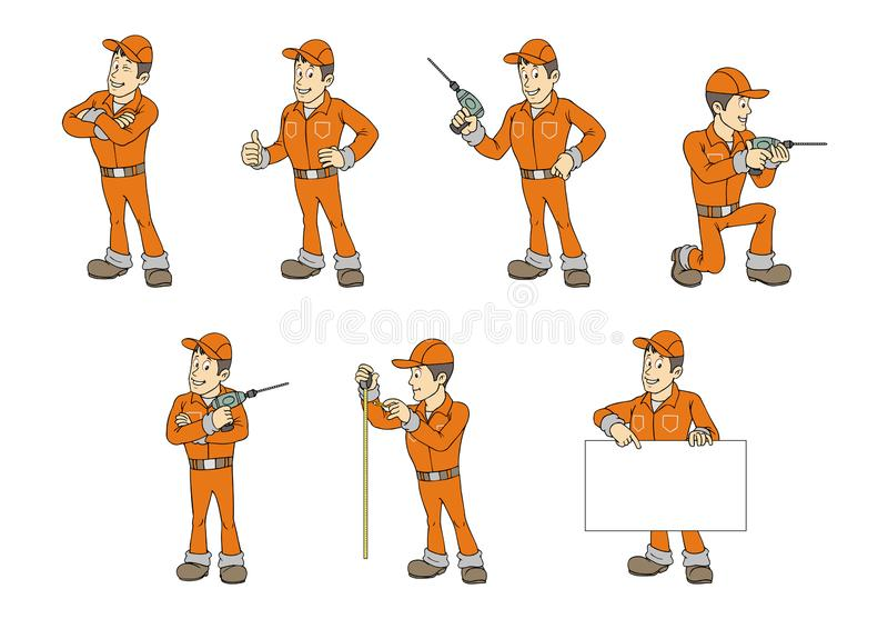 Grupo acessível do homem dos desenhos animados ilustração do vetor