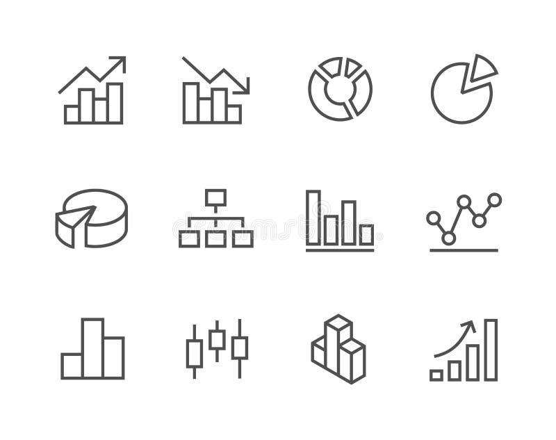 Grupo afagado do ícone do gráfico e do diagrama. ilustração royalty free