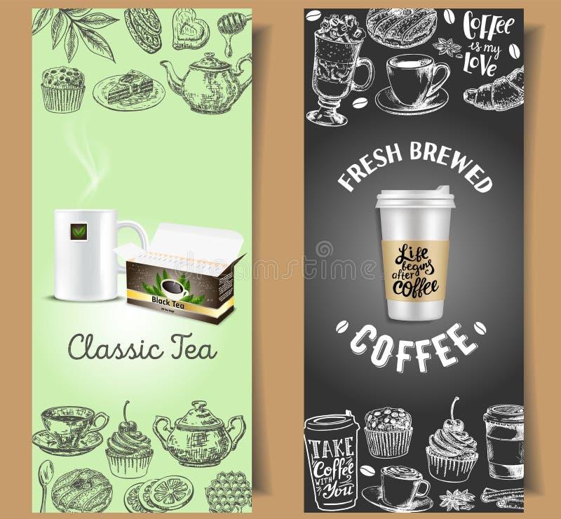 Grupo afastado do molde do vetor do inseto do café e do chá ilustração royalty free
