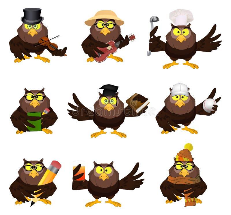 Grupo agradável dos desenhos animados do vetor de corujas ilustração do vetor