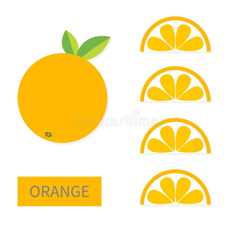 Grupo alaranjado do ícone do fruto Fatia em seguido Corte a metade Alimento saudável do estilo de vida Projeto liso da configuraç ilustração do vetor