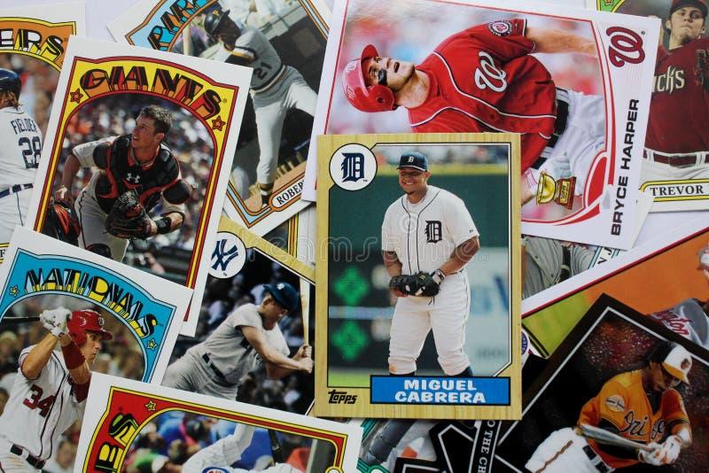 Grupo aleatório de cartões de basebol foto de stock royalty free