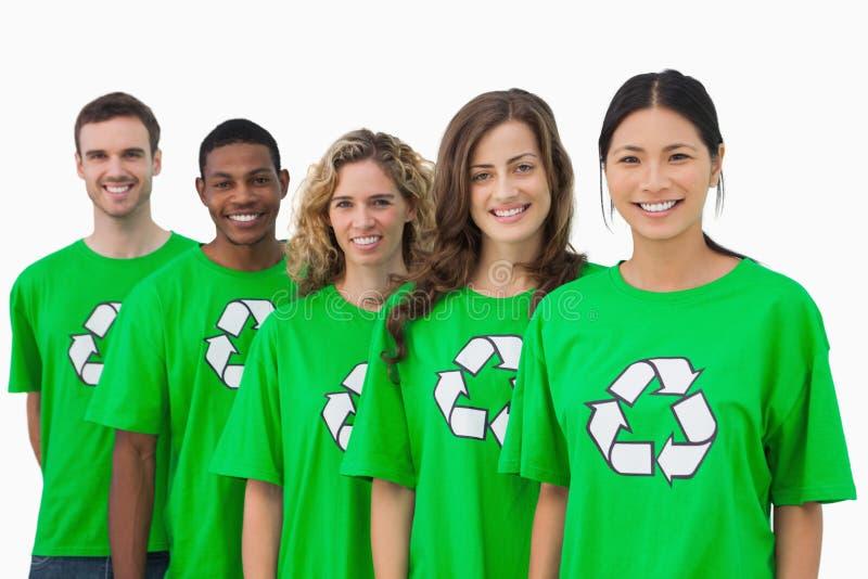 Grupo alegre de ativistas ambientais imagens de stock royalty free