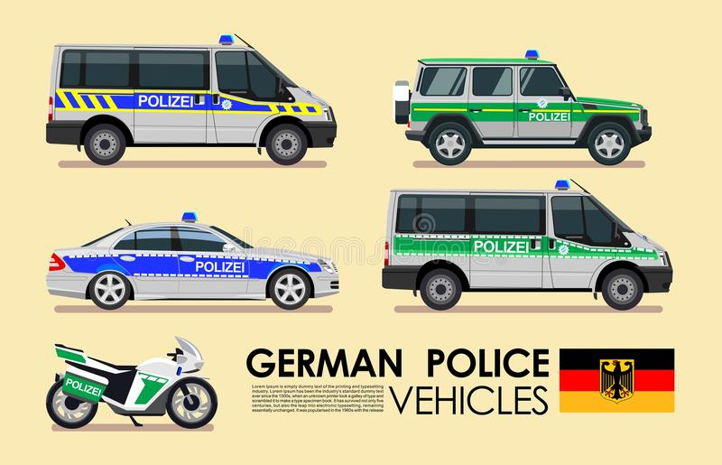 Grupo alemão do transporte da emergência dos veículos dos carros de polícia Carros de polícia da coleção lisa do projeto de Deuts ilustração do vetor
