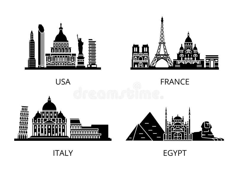 Grupo alto do estêncil da silhueta dos marcos do detalhe Países do mundo ilustração stock