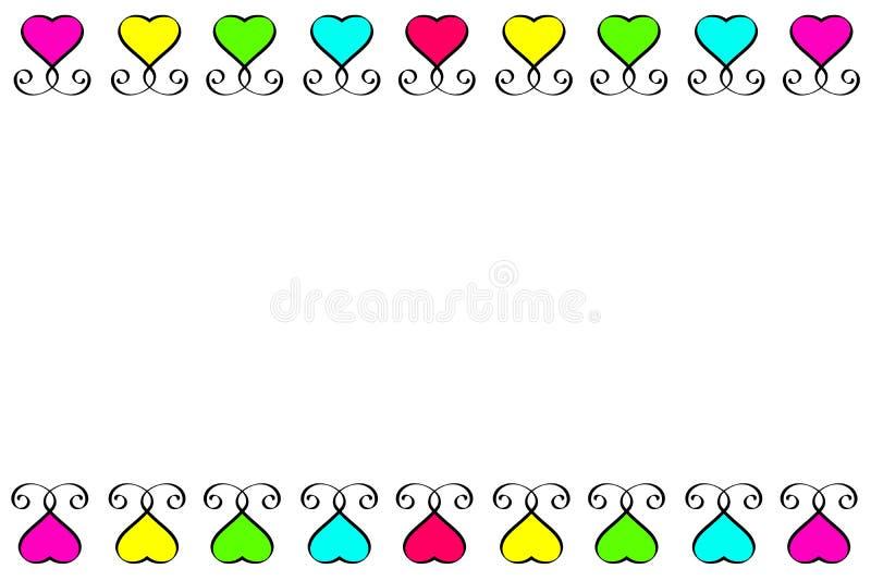 Grupo amarelo cor-de-rosa azul verde vermelho do vintage do sinal do coração do amor Lugar para o texto Dia de Valentim dos eleme ilustração do vetor