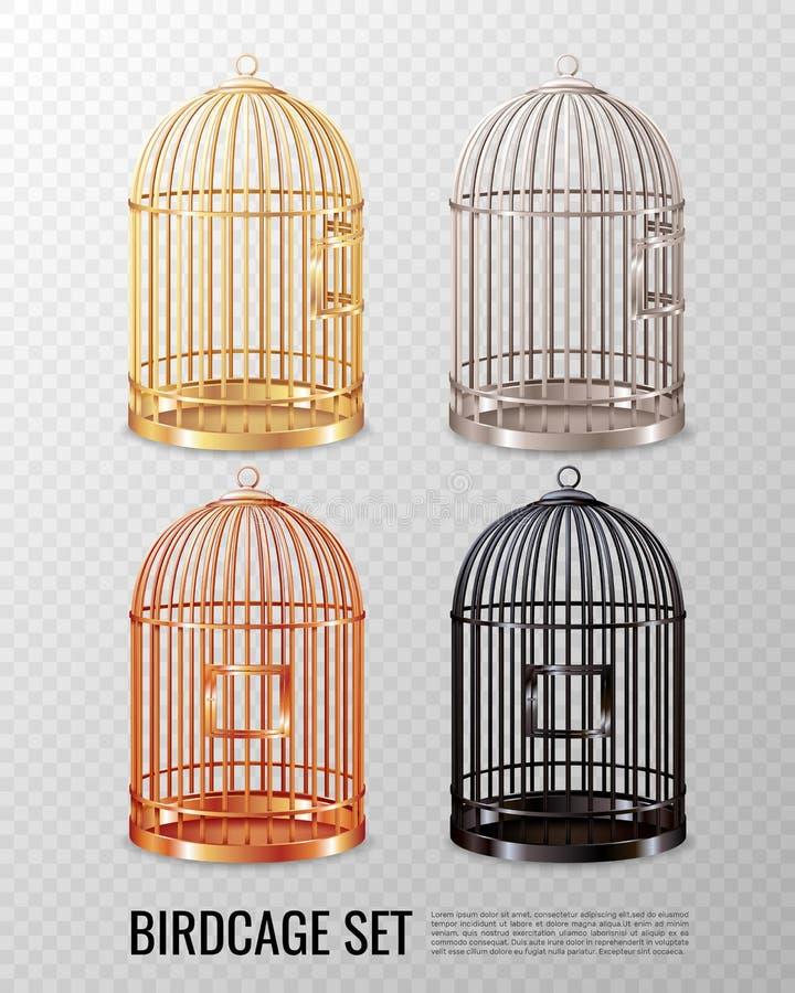 Grupo amarelo do Birdcage 3D ilustração stock