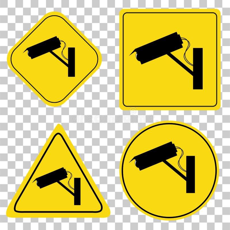 Grupo amarelo e preto de sinal do CCTV no fundo transparente do efeito ilustração royalty free