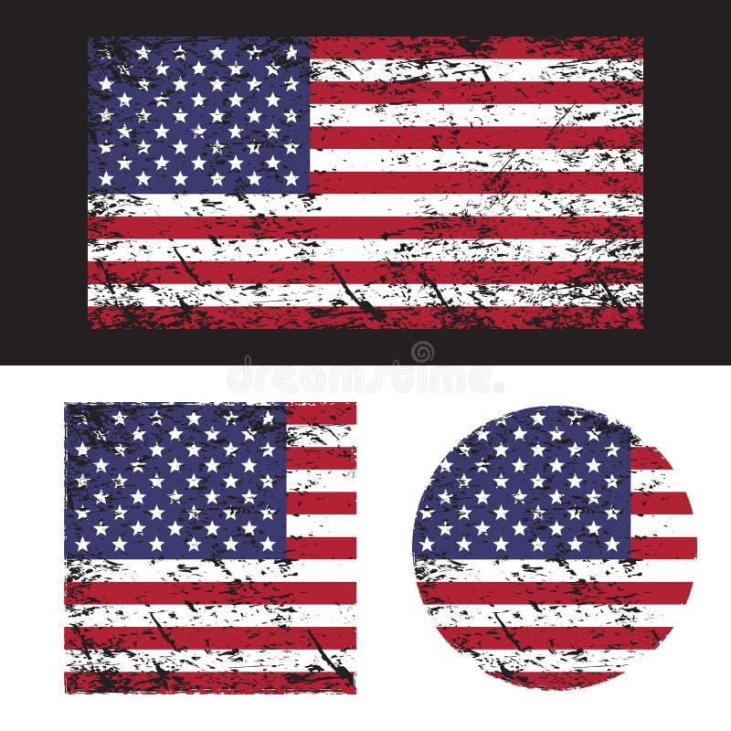 Grupo americano da bandeira do grunge dos EUA, ilustração ilustração royalty free