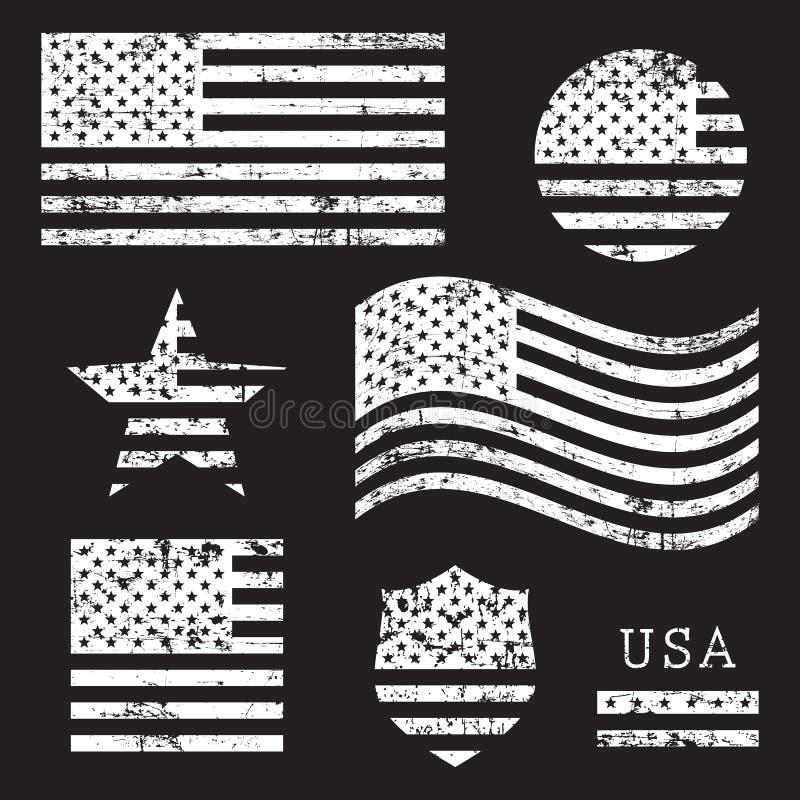Grupo americano da bandeira do grunge dos EUA do vintage, branco isolado no fundo preto, ilustração ilustração royalty free