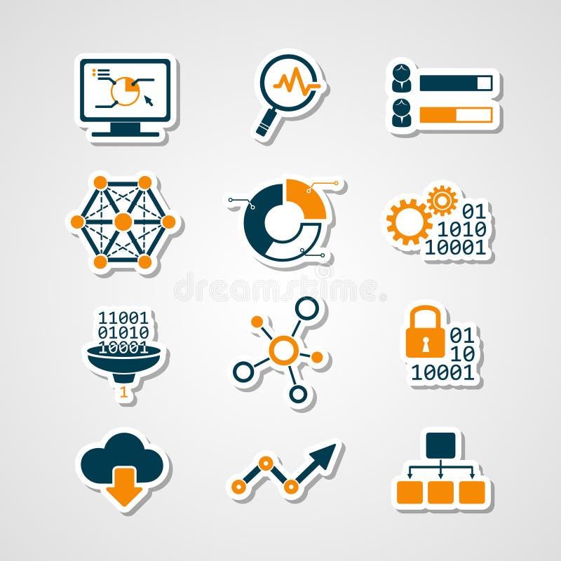 Grupo analítico do corte do papel dos ícones dos dados ilustração stock