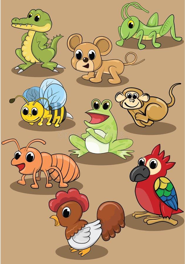 Grupo animal bonito da ilustração do vetor do cão ilustração do vetor