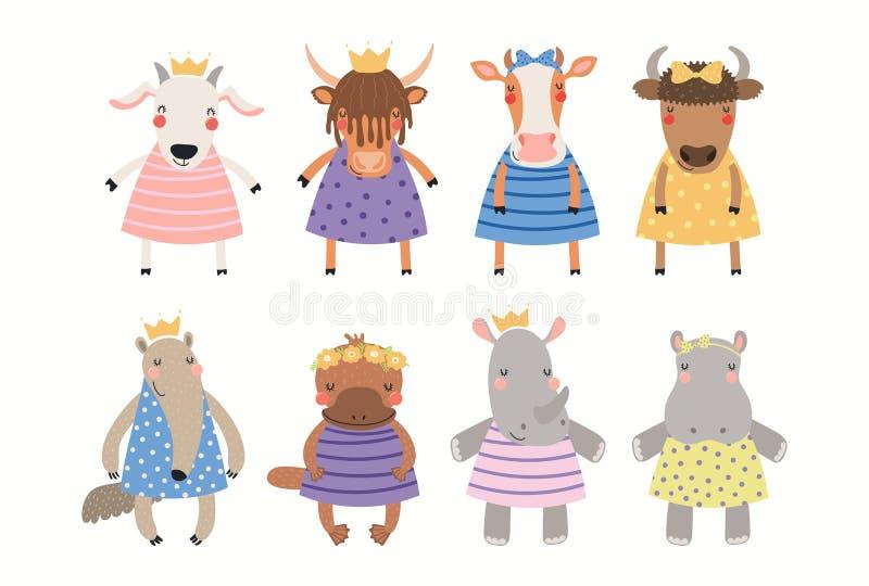 Grupo animal bonito das princesas ilustração stock