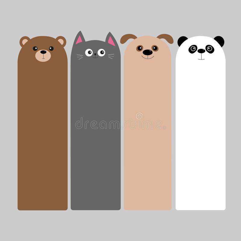 Grupo animal da cabeça Urso do bebê do kawaii dos desenhos animados, gato, cão, panda ilustração royalty free