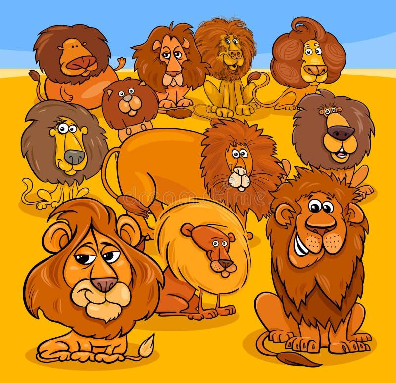 Grupo animal de los caracteres de los leones de la historieta libre illustration