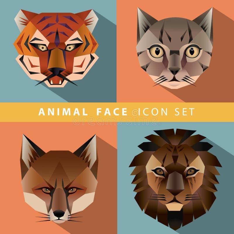Grupo animal do ícone da cara ilustração do vetor
