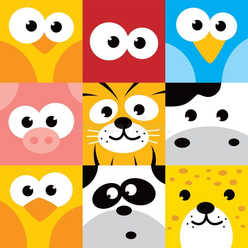 Grupo animal quadrado do botão do ícone da cara ilustração do vetor