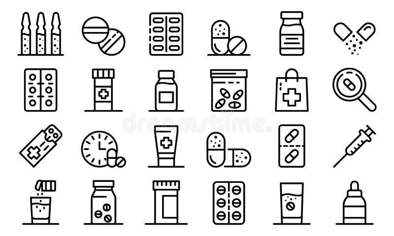Grupo antibiótico dos ícones, estilo do esboço ilustração stock