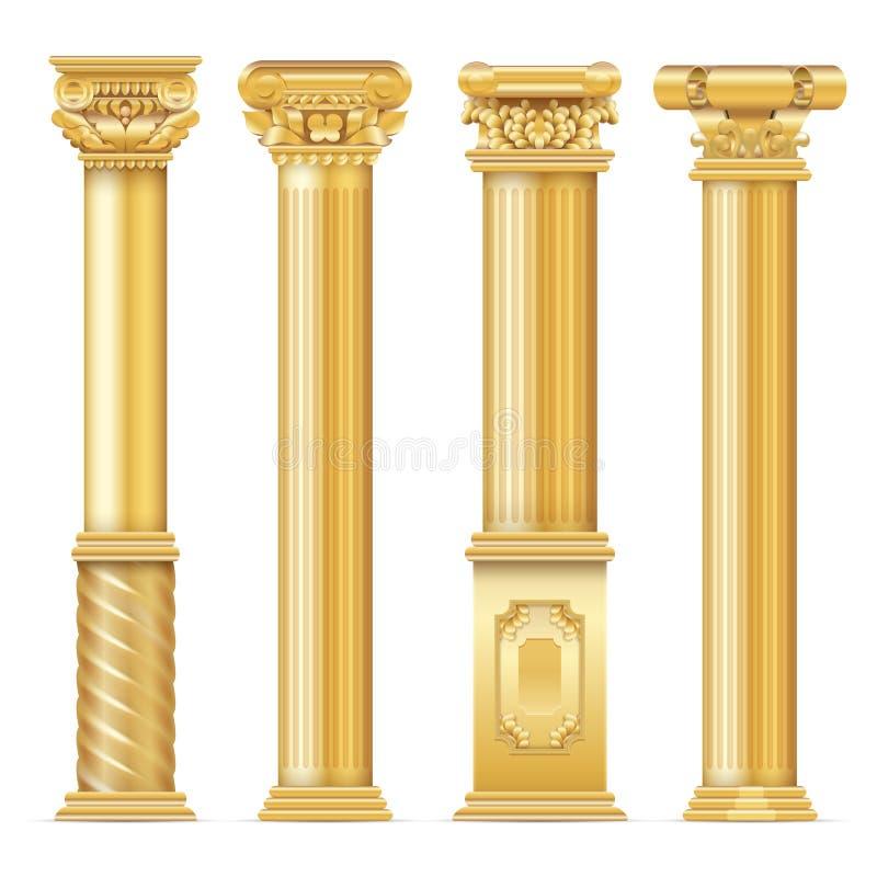 Grupo antigo clássico do vetor das colunas do ouro ilustração royalty free