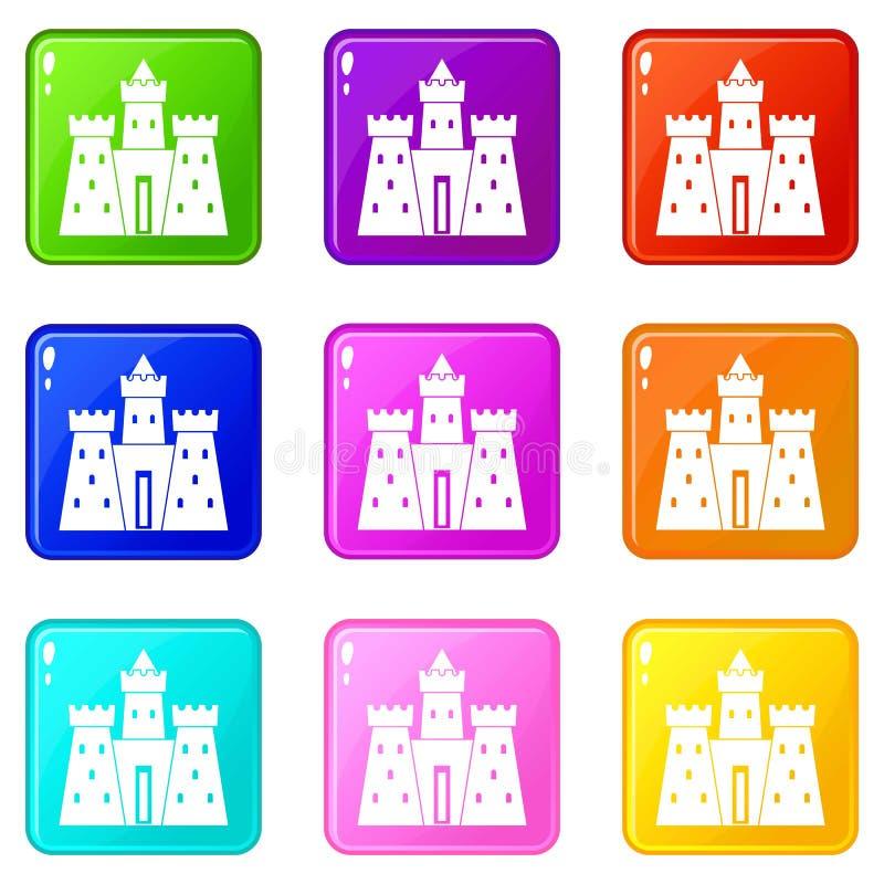 Grupo antigo dos ícones 9 do palácio do castelo ilustração do vetor