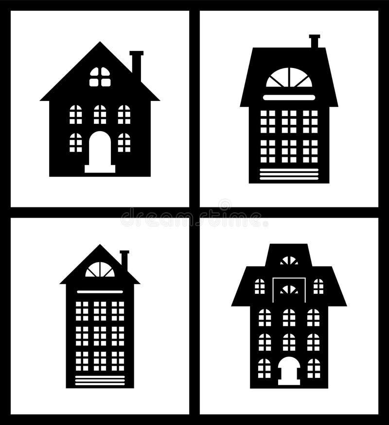 Grupo antiquado de construção das silhuetas das casas ilustração royalty free
