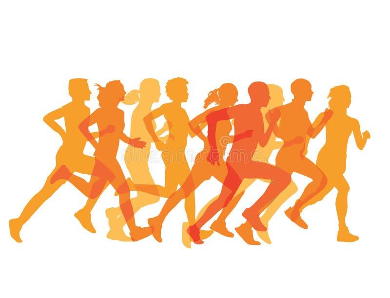 Grupo apretado de corredores en una raza libre illustration
