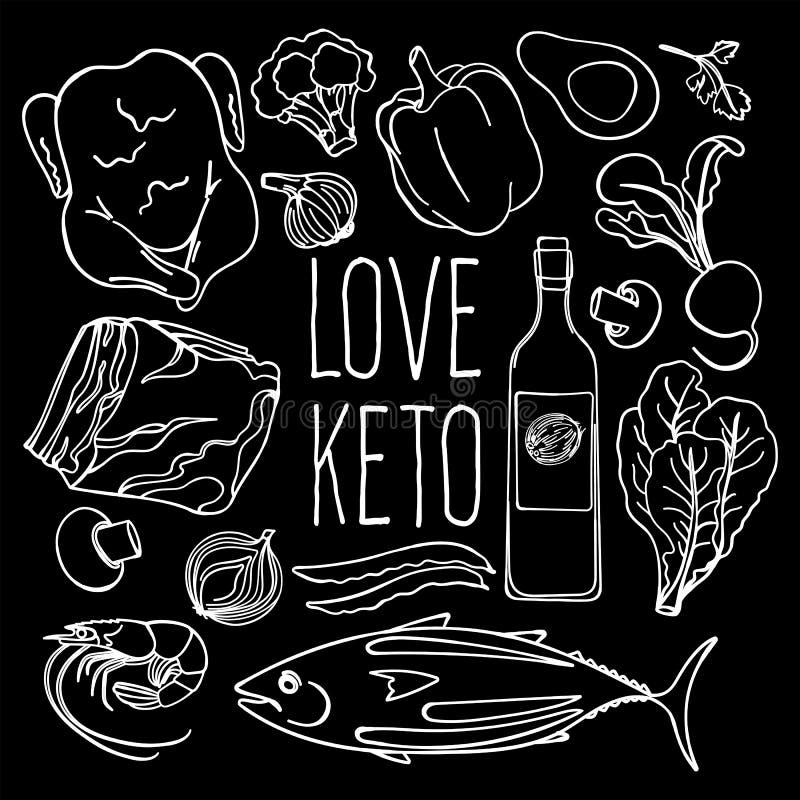 Grupo apropriado da ilustração do vetor da dieta da nutrição do PRETO do KETO ilustração stock