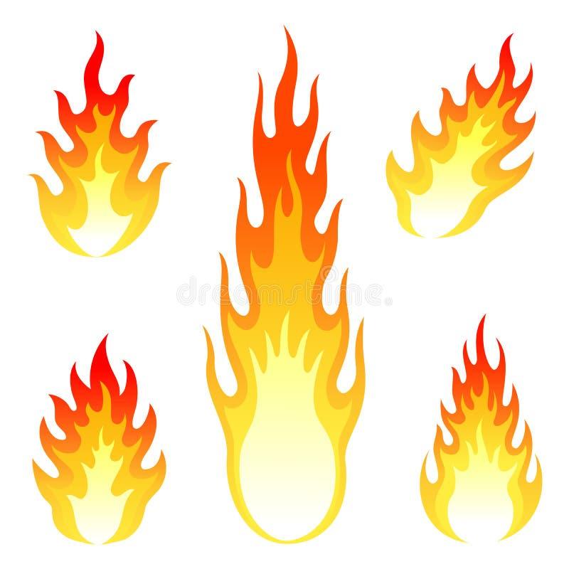 Grupo ardente do vetor do fogo e da chama isolado sobre imagens de stock royalty free