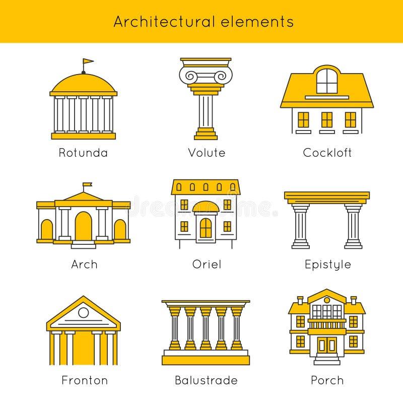 Grupo arquitetónico do ícone dos elementos ilustração royalty free