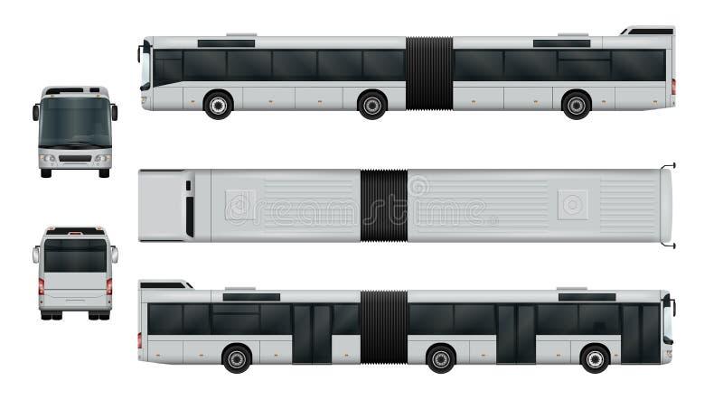 Grupo articulado do ônibus da cidade ilustração royalty free