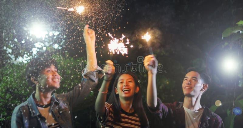 Grupo asiático de amigos que tienen barbacoa al aire libre del jardín que ríe w imágenes de archivo libres de regalías