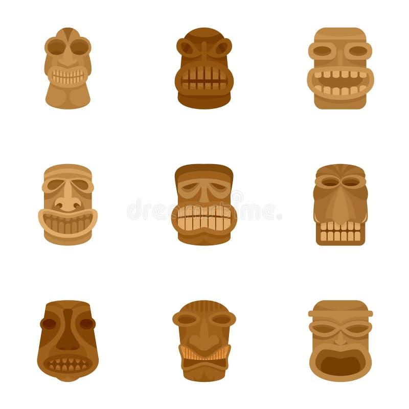 Grupo asteca do ícone do ídolo, estilo liso ilustração royalty free