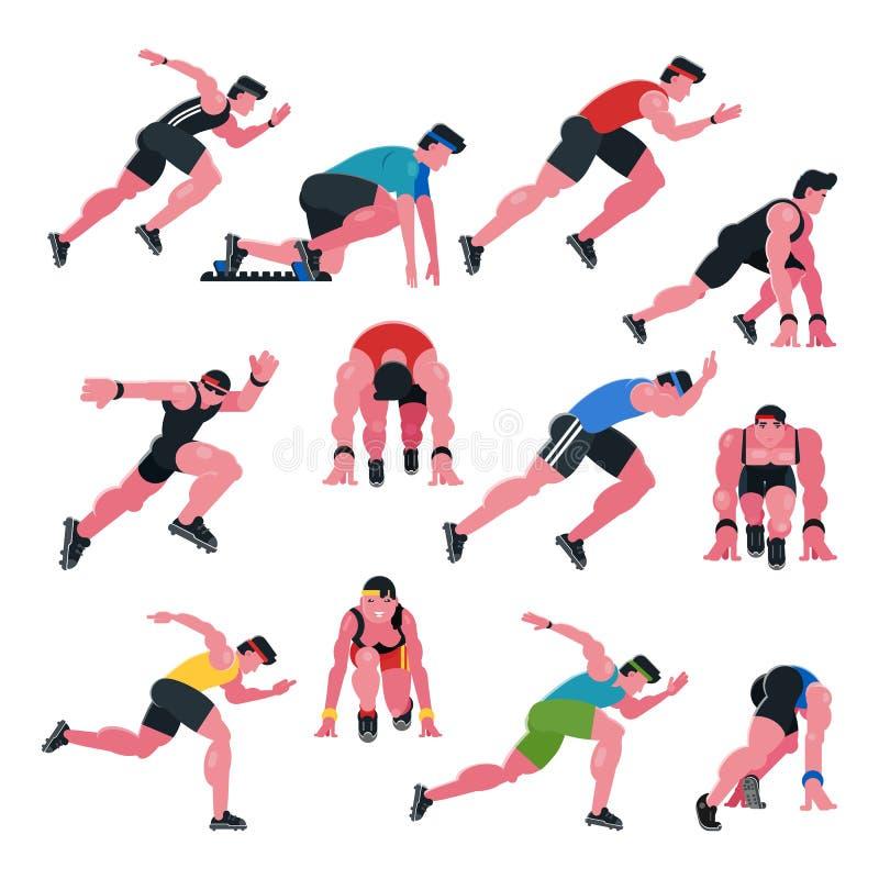 Grupo atlético da aptidão do treinamento do esporte do corredor dos povos do vetor do atleta e da ilustração do caráter do homem  ilustração stock