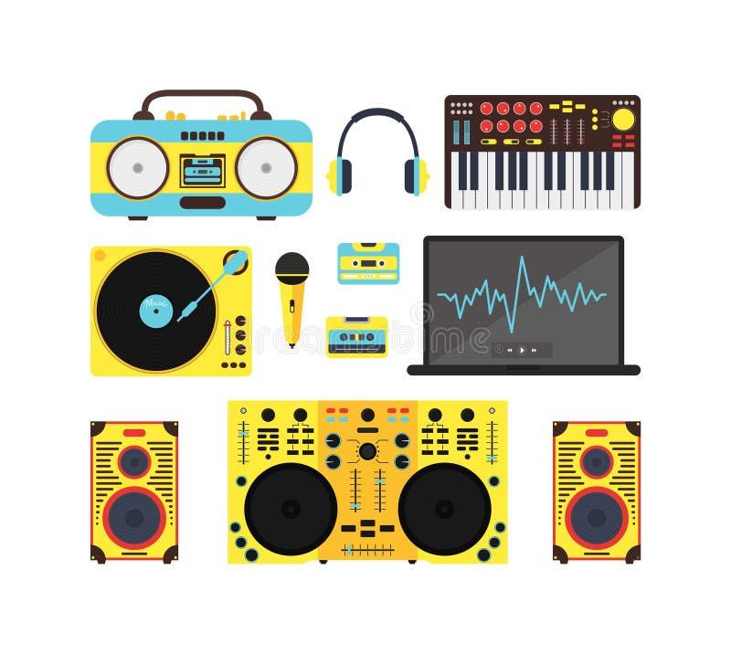 Grupo audio do equipamento da música do DJ Vetor ilustração do vetor
