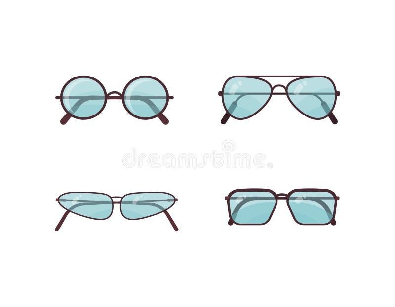 Grupo azul do vetor dos óculos de sol Coleção plástica do quadro dos espetáculos Prote??o do sol do ver?o ilustração do vetor