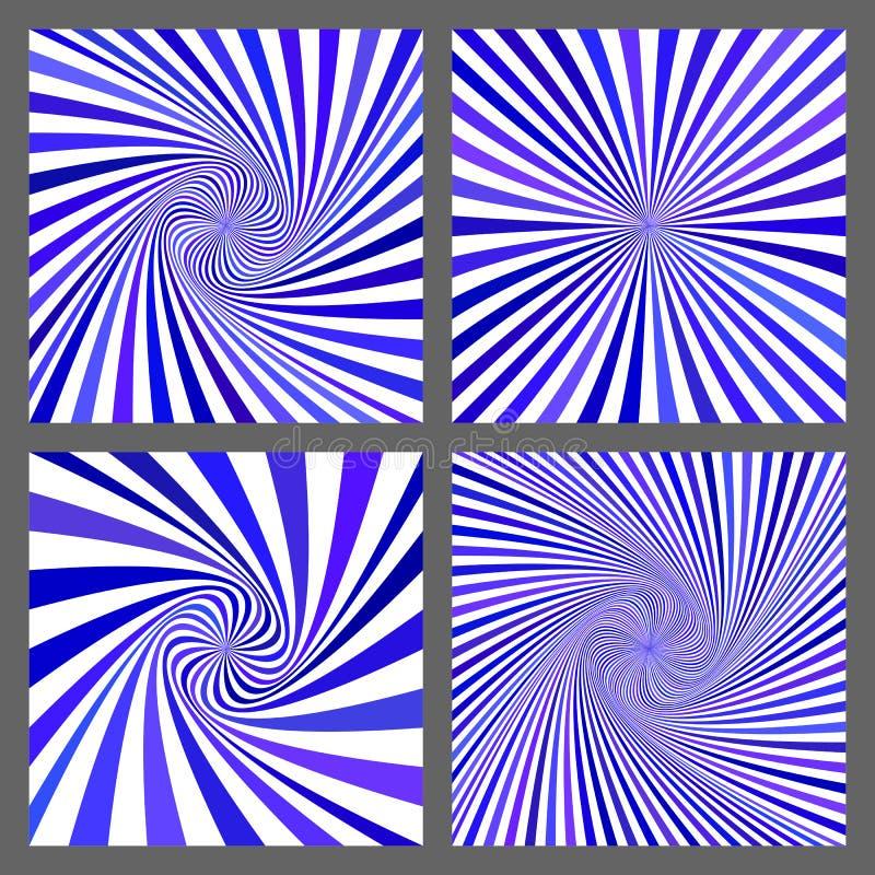 Grupo azul do vetor do fundo da explosão da espiral e do raio ilustração do vetor