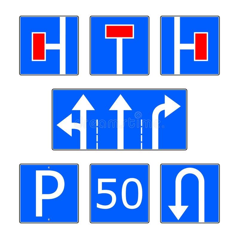 Grupo azul do vetor do sinal de estrada da informação ilustração royalty free