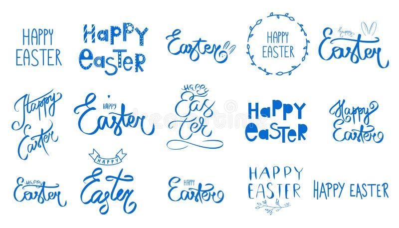 Grupo azul grande de easter Do dia feliz da Páscoa da coleção sinal escrito à mão Estilo da mola Feriado de April Sunday Rotula?? ilustração stock
