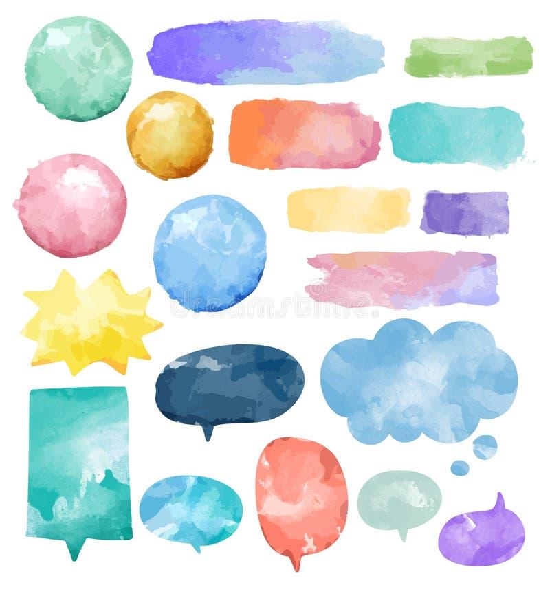 Grupo básico de vetor colorido das bolhas do discurso da aquarela ilustração stock