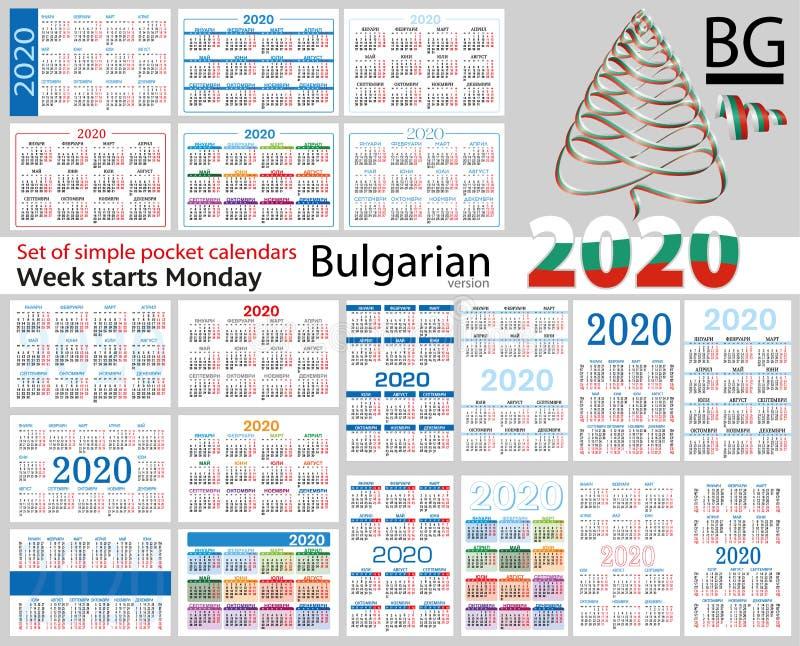Grupo búlgaro de calendários do bolso para 2020 ilustração stock
