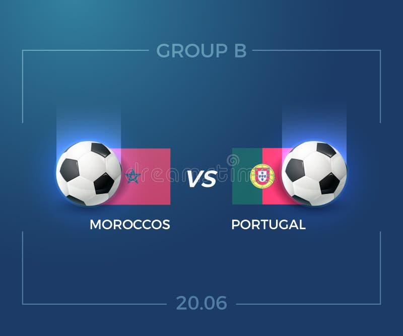 Grupo B do campeonato do mundo 2018 de Rússia, Moroccos contra Portugal, o 20 de junho ilustração do vetor