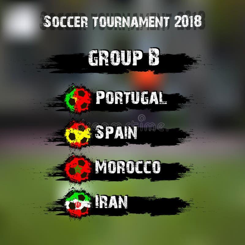 Grupo B do competiam 2018 do futebol ilustração royalty free