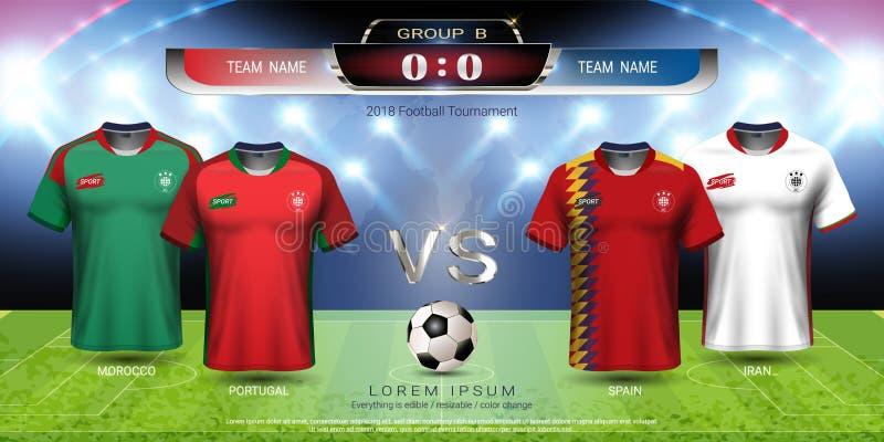Grupo B, jersey del equipo de la taza 2018 del fútbol de fútbol con la maqueta del marcador libre illustration