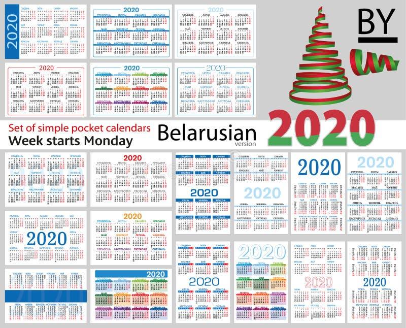 Grupo bielorrusso de calendários do bolso para 2020 ilustração do vetor